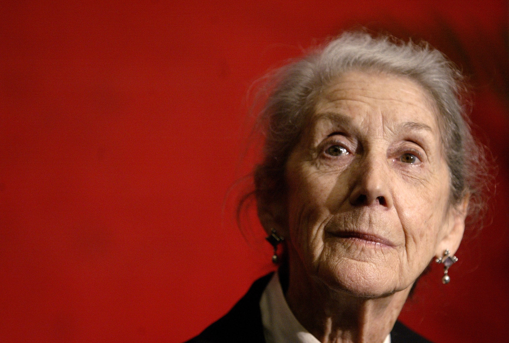 Nobel Prize-winning author Nadine Gordimer listens to a question during a news conference at the Guadalajara International Book Fair in Mexico, in this 2006 photo.