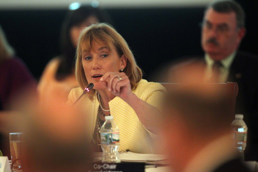 New Hampshire Gov. Maggie Hassan welcomes the New England governors and eastern Canadian premiers at the start of their 38th annual conference Monday in Bretton Woods, N.H. Maine Gov. Paul LePage did not attend.