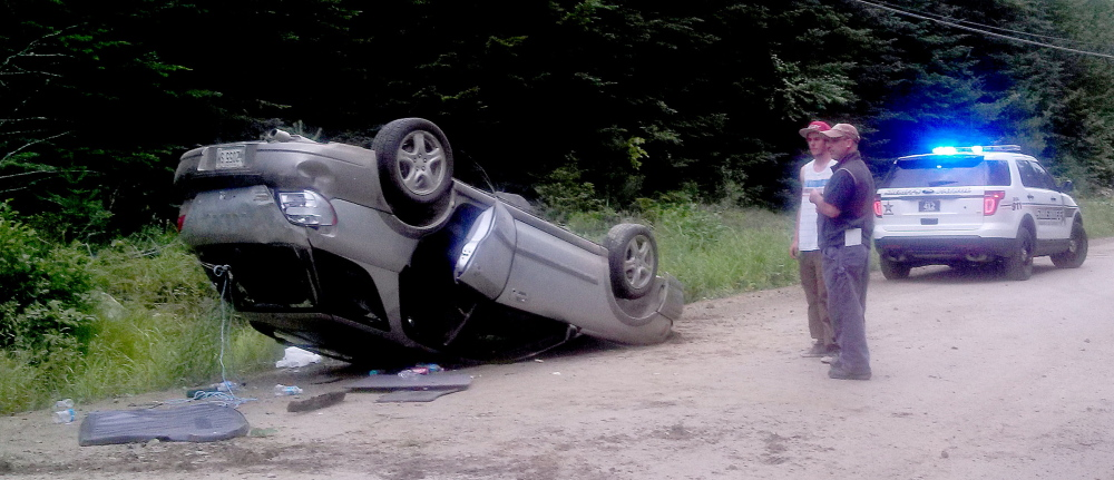 Operator Nickolas Clements attempted to avoid a moose and lost control, rolling his car over on Bemis Road in Rangeley Plantation on Sunday.