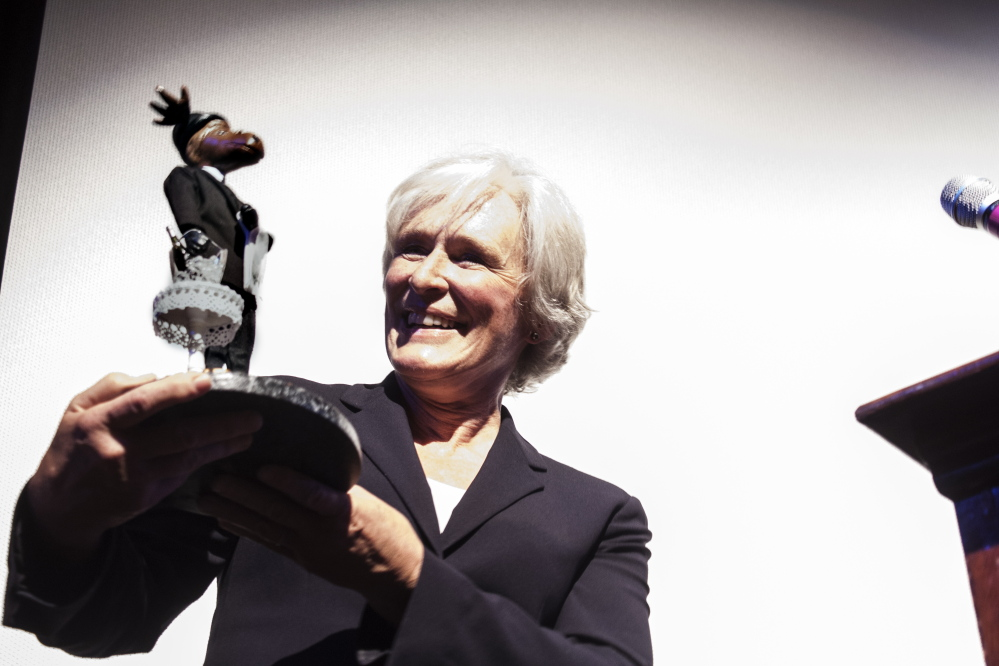 Actress Glenn Close with the Mid-Career Achievement Award given to her by the Maine International Film Festival on Sunday. Close called the unique trophy created in her honor by a local artist the best award she has received.