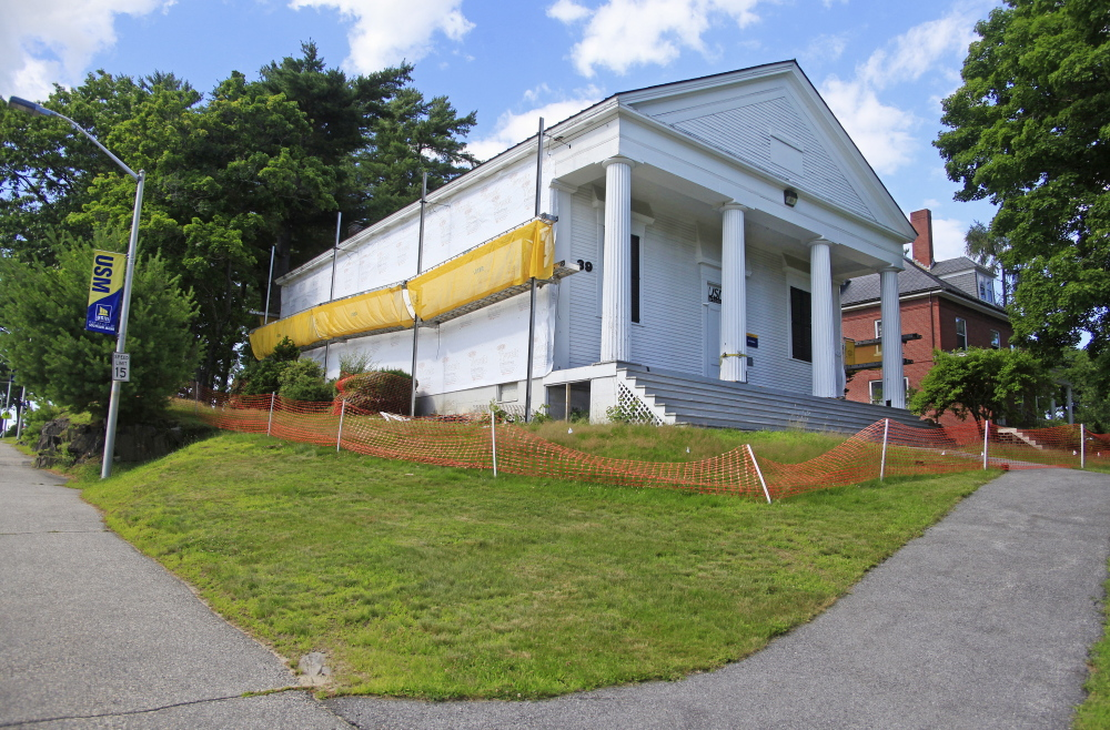 This historic building at the University of Southern Maine in Gorham was undergoing renovation. Work is suspended temporarily to allow for concerns about the project to be aired.