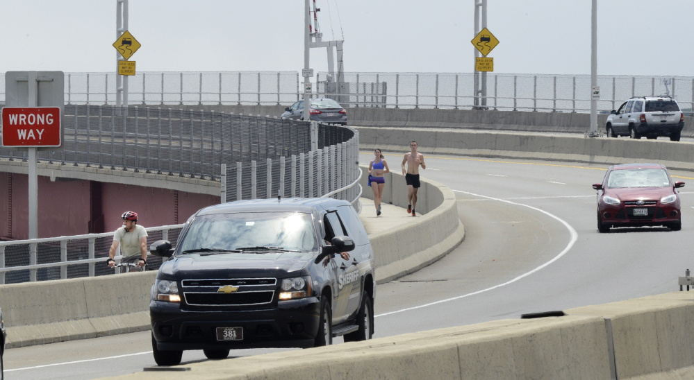 The sidewalk along the Casco Bay Bridge, which links Portland and South Portland, will close for construction. Bicyclists and pedestrians will have to use the bicycle lane outside the barrier or find a ride.