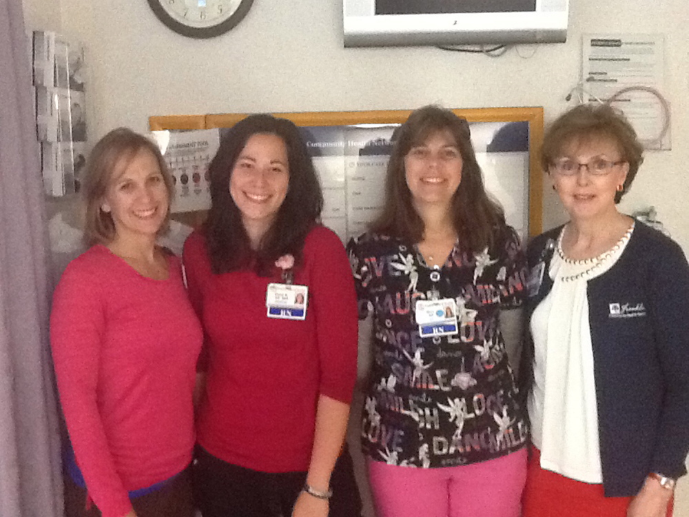 Six Franklin Memorial Hospital nurses recently completed the 69-CNE-hours course Essentials of Critical Care Orientation 2.0 developed by the American Association of Colleges of Nursing. The course provided evidence-based knowledge and practice for bedside nurses working with acutely or critically ill patients. From left are Michelle Dalot, RN, ICU; Fiona Reardon, BSN, RN, ICU; Mary Havtan, RN, ICU; Jan Bell, BSN, RN, director ICU/med-surg; Absent but also completing the course were David Ryan, RN, ICU; Hope Willis, RN, MS3; and Jennifer Nuttall, RN, MS3.