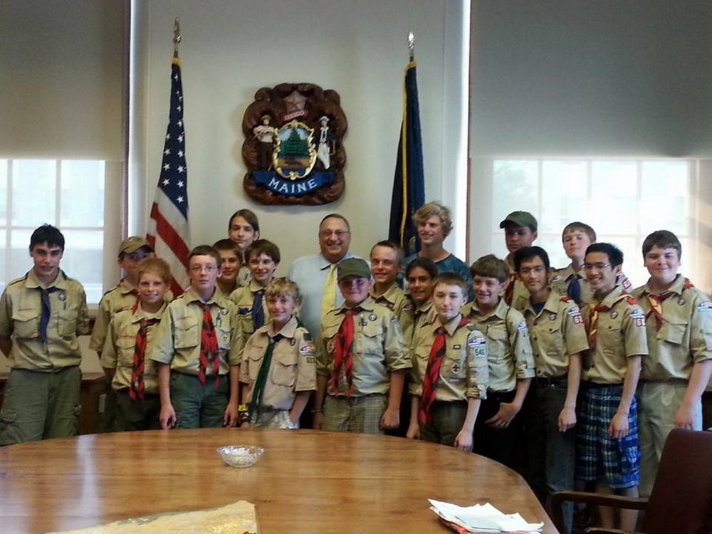 Scouts from the Pine Tree Council, Boy Scouts of America, recently worked on their Citizenship in the Nation Merit Badge during a special program at that state capitol building. Twenty Scouts participated in tours, discussions, games and meetings and learned about the legislative and judicial process from attorney and Sen. Roger Katz, R-Augusta. They received tours of the home of former presidential candidate and Secretary of State James G. Blaine and the State House complex and visited the Maine State Library and the various executive branch agencies in the Edmund Muskie Federal Building. They also met Gov. Paul LePage, pictured above with the Scouts. Scouts from West Gardiner, Windham, New Sharon, Albion, Farmington, Augusta and Industry participated.