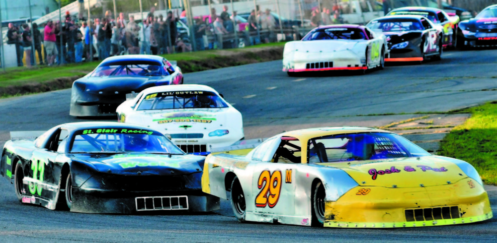 Driver Ricky Morse, 29, edges driver Josh St. Clair, 33, at the start of the Last Chance Motorsports 150 race last September at the Unity Raceway.