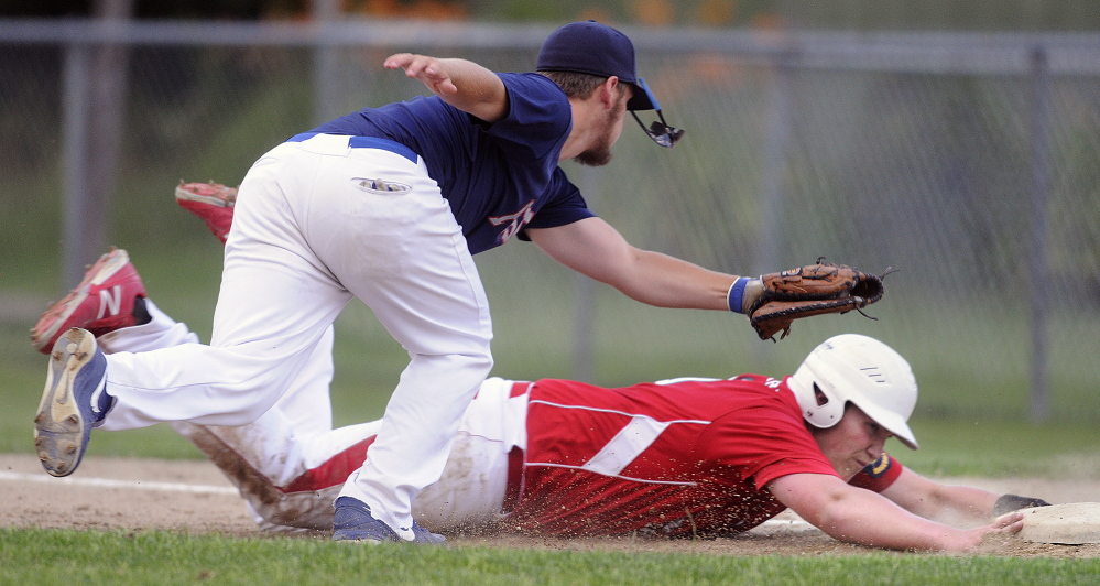 Post 51's Zach Mattieu attempts to tag Red Barn's Taylor Lockhart at first Thursday during an American Legion playoff game in Augusta.