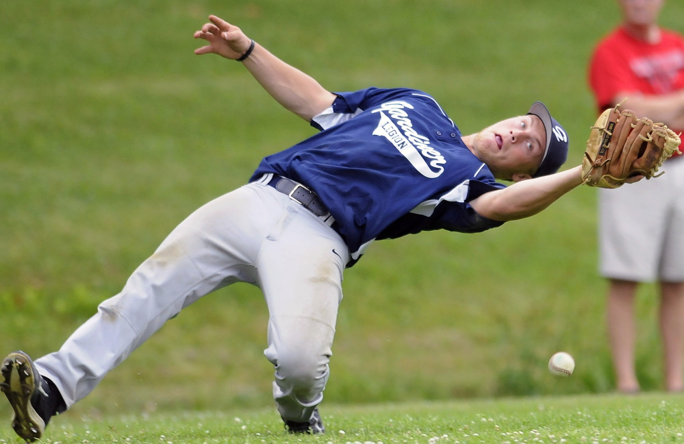 Gardiner's Mario Meucci can't collect a foul Thursday July 3, during an American Legion baseball match up against Red Barn in Monmouth. Gardiner will play Franklin County on Saturday as part of the Zone 2 tournament.