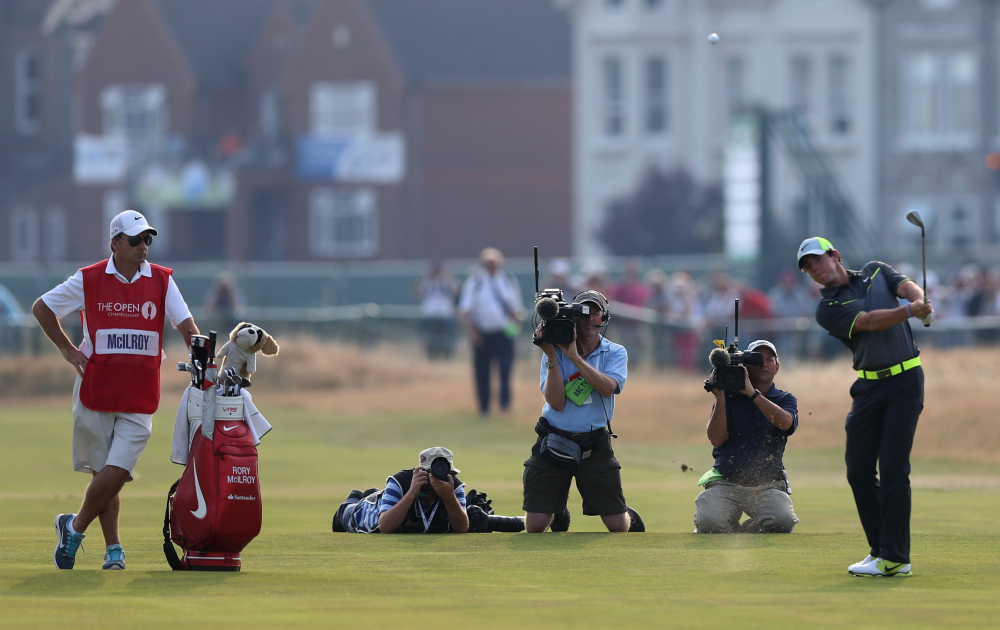 Rory McIlroy shot a 6-under 66 to build a 4-shot lead Friday at the British Open in Hoylake, England.