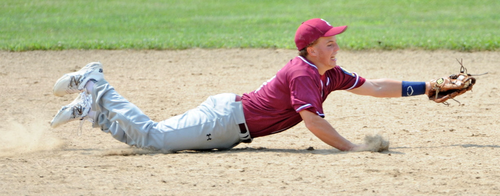 Franklin County shortstop Ryan Pratt, 1, extends to stab a hard hit ground ball up the middle by Gardiner in the Senior Legion Zone 2 baseball tournament at Memorial Field in Skowhegan on Saturday.