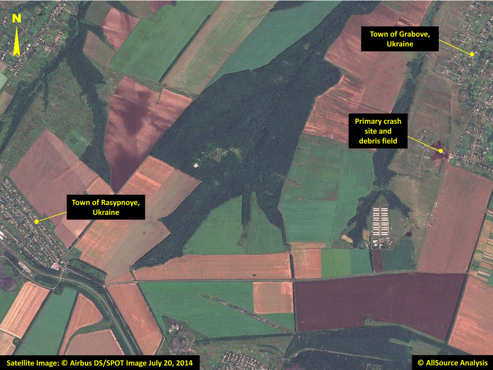 In this annotated photo dated Sunday, a satellite image shows the primary crash site, at top right, of Malaysia Airlines Flight 17 located near Hrabove, eastern Ukraine.