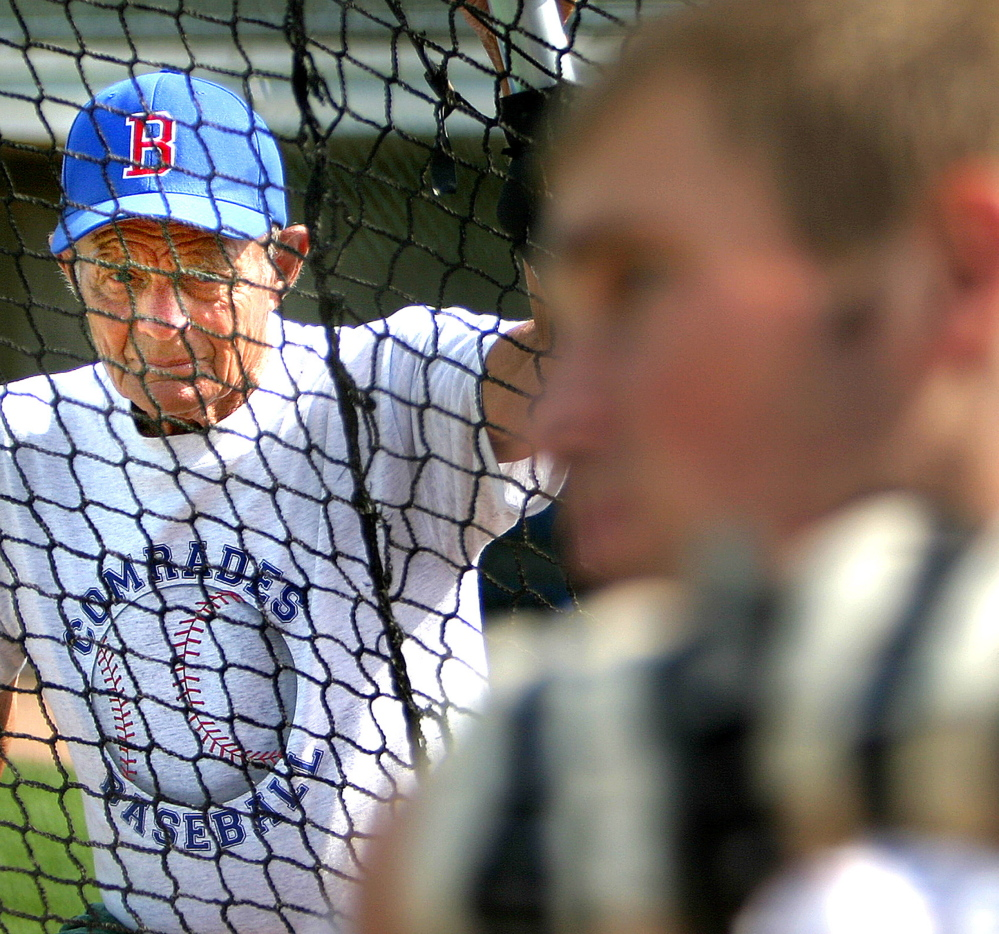 In this 2005 photo, baseball coach John Winkin watches a player at batting practice. Winkin, arguably the greatest baseball coach in state history, died last week. He was 94, five days short of his 95th birthday.