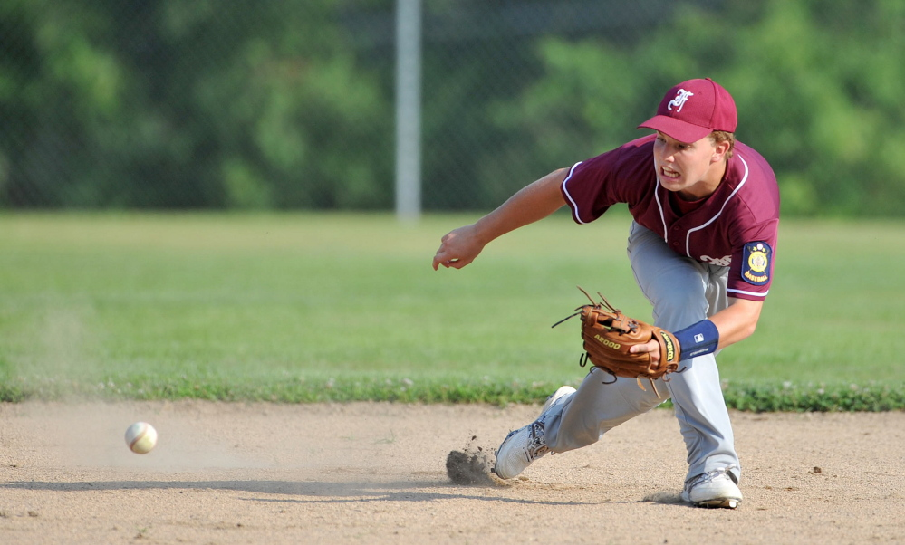Franklin County short stop Ryan Pratt, 1, plays a hard his ground ball against Post 51 in the American Legion Zone 2 championship game at Memorial Field in Skowhegan on Tuesday.