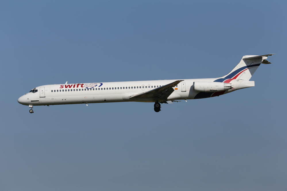 An MD-83 aircraft in the Swiftair fleet, similar to the one that has disappeared over Mali, lands at Zaventem Airport in Brussels in this May 16, 2014, photo. Air Algerie Flight 5017 was being operated by a Spanish crew of six and had 110 passengers, half of whom were French.