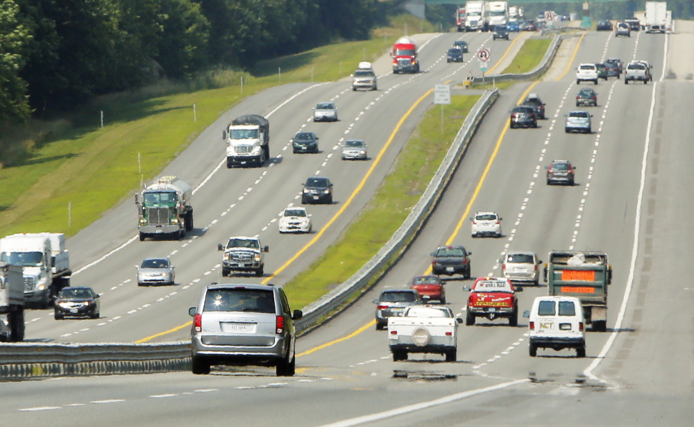 Portland Press Herald photo by Gregory Rec Vehicles travel on the Maine Turnpike in York on Wednesday. This summer has seen the most increase in traffic on the turnpike since 2007, mostly in the southern part of the state.