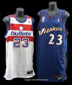 Though Michael Jordan, whose No. 23 jersey is shown here, played for the Washington Wizards for only three seasons, 2001-03, his final game with the team, April 12, 2003, featured players wearing retro jerseys with the team's former name, the Washington Bullets.