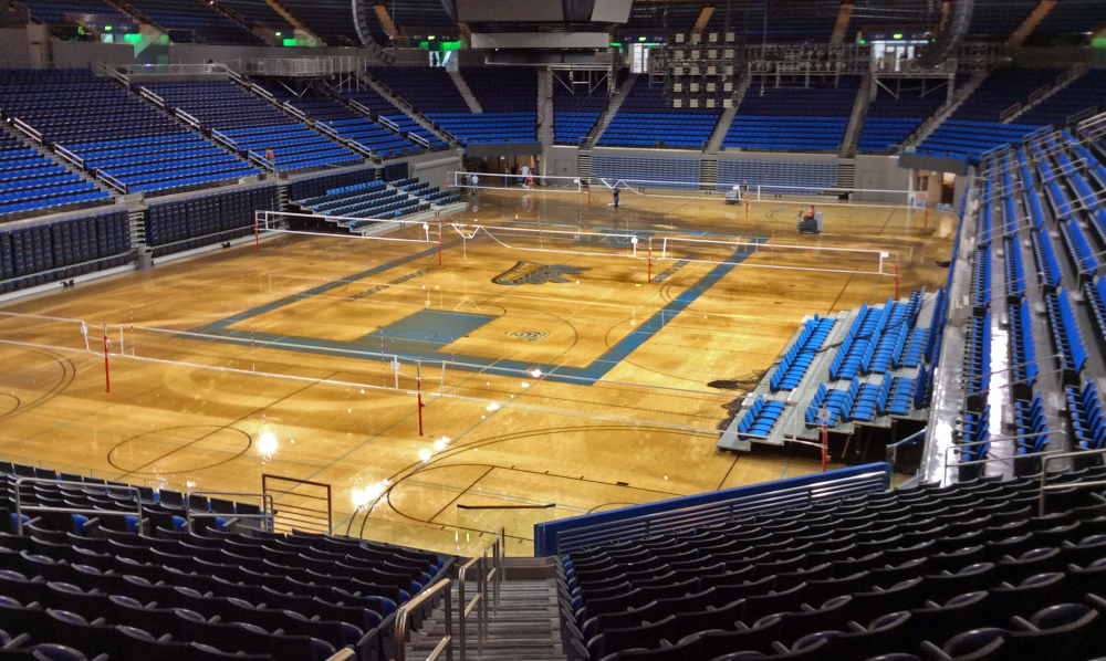 Water covers the playing floor of Pauley Pavilion, home of UCLA basketball, after a 30-inch water main burst on nearby Sunset Boulevard on the campus in the Westwood district of Los Angeles Tuesday.