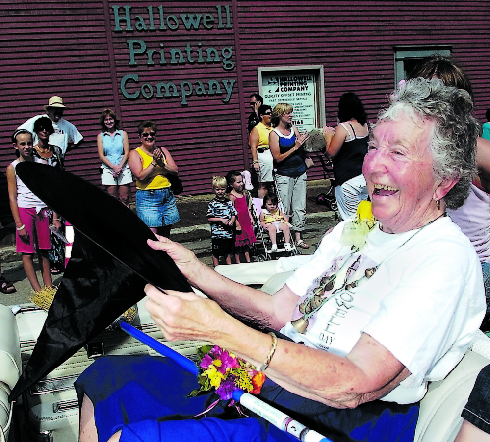Hallowell's 2008 Citizen of the Year Katy Perry laughed as she caught her black witch hat that kept blowing off as she rode in the Old Hallowell Day parade in downtown Hallowell. Perry died Saturday at age 93.