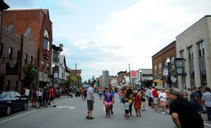 People gather on Main Street in downtown Skowhegan for the annual River Fest in this file photo from July 2014.