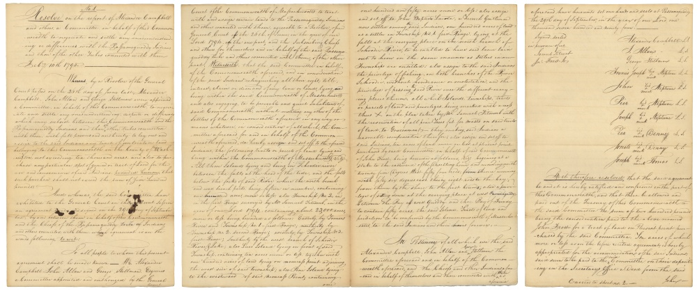 Under the Treaty of 1794 between the Passamaquoddy and the Commonwealth of Massachusetts, the tribe surrendered ancestral lands in exchange for perpetual ownership of several islands and thousands of acres of forest, streams and lakes in eastern Washington County, as well as a trust fund to help sustain the tribe. But several factors, including a constitutional amendment and disregard of the treaty by the courts, eroded tribal control of the lands and the trust alike after Maine separated from Massashusetts and became a state in 1820.