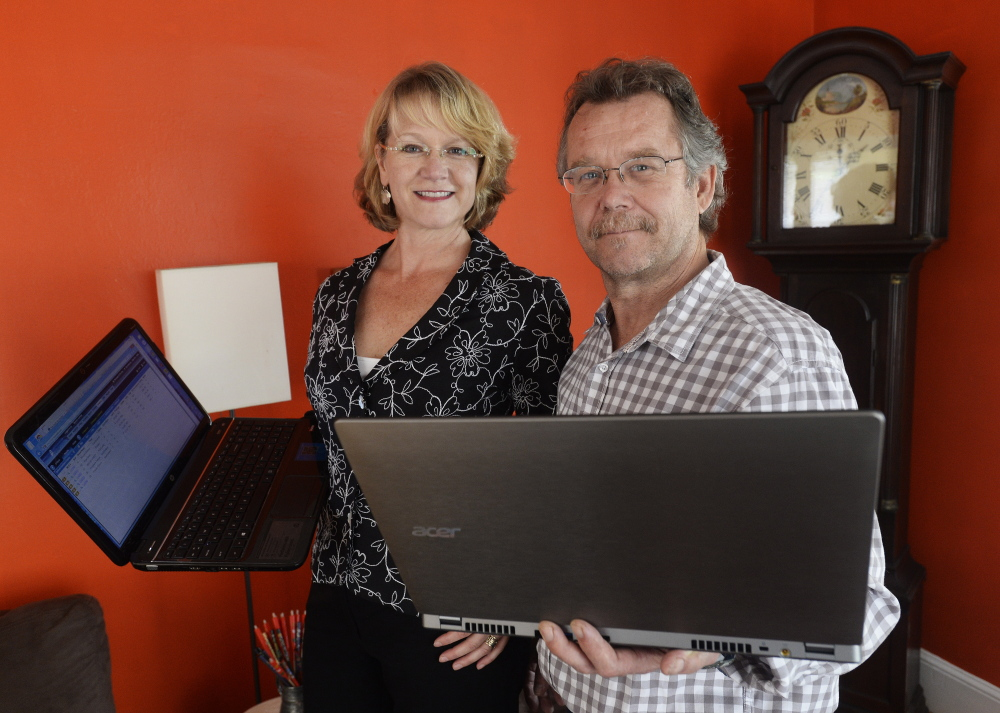 "Realty owner Hannah Holmes and her husband, John Dorvee, use the Internet at their home in South Portland. ""The argument that somebody should be able to watch a Netflix movie in flawless high-definition, at the potential expense of someone making a colossal life decision, just rubs me the wrong way,"" she said."