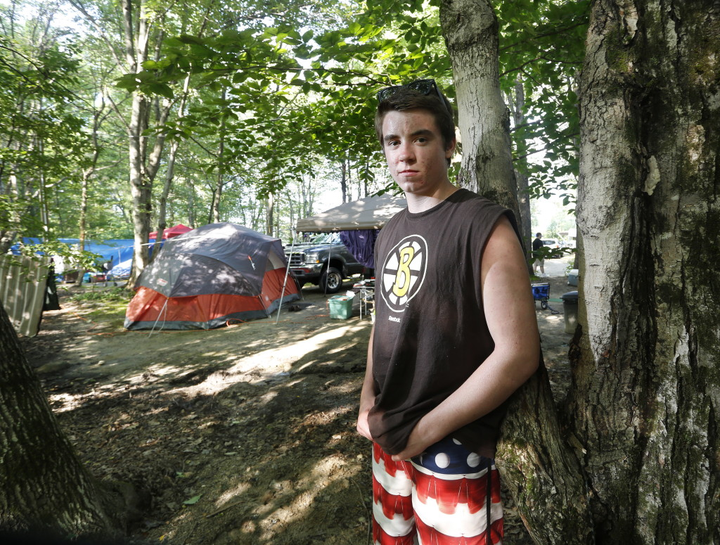 NAPLES, ME - JULY 29: Sean Greeley, 16, of Walpole, MA was sitting at his campsite at Four Seasons Campground in Naples on Monday when he says lightning struck this nearby tree and then him. (Photo by Derek Davis/Staff Photographer)