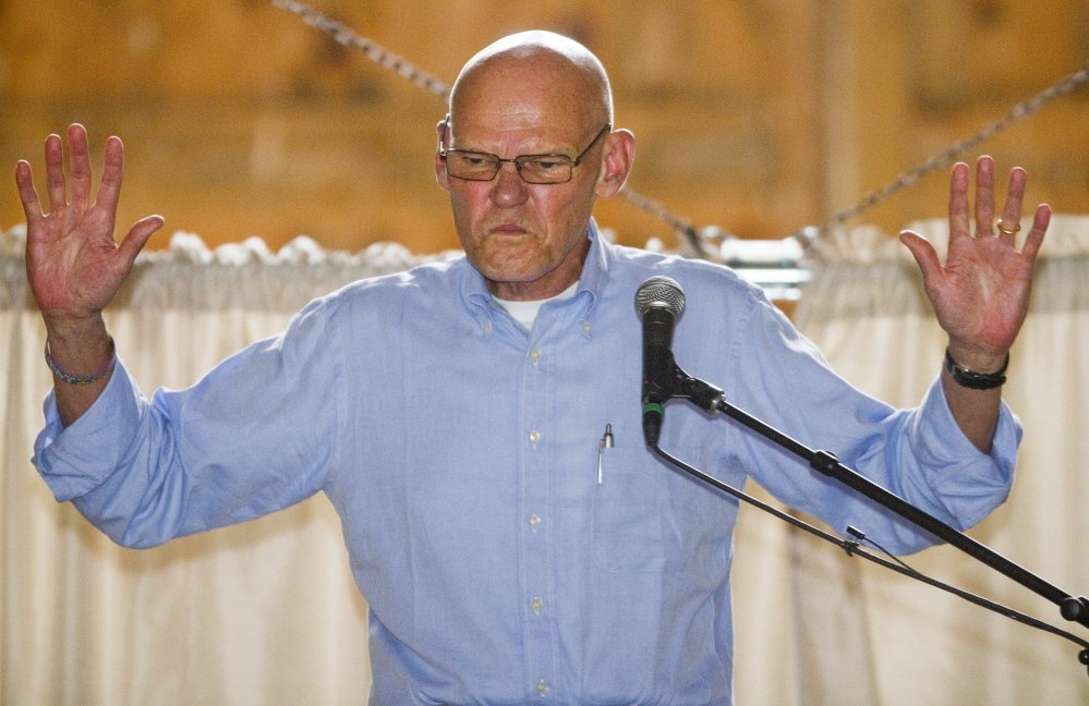 National Democratic strategist James Carville speaks during the annual Maine Democratic lobster bake fundraiser at Wolfe Neck Farm in Freeport on Sunday.