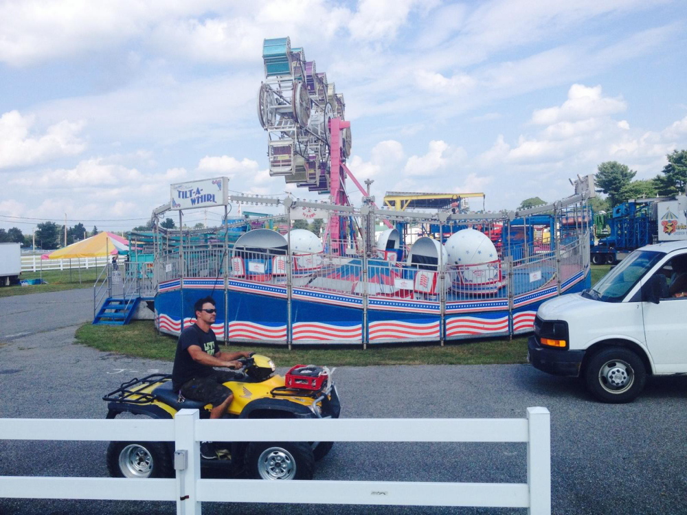 The Skowhegan State Fair midway was taking shape Monday with rides and food booths being readied for the 196th fair, which opens Thursday.
