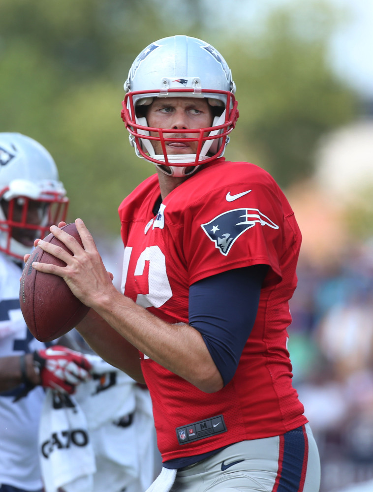 New England Patriots quarterback Tom Brady gets set to pass during a scrimmage with Washington on Tuesday in Richmond, Va.