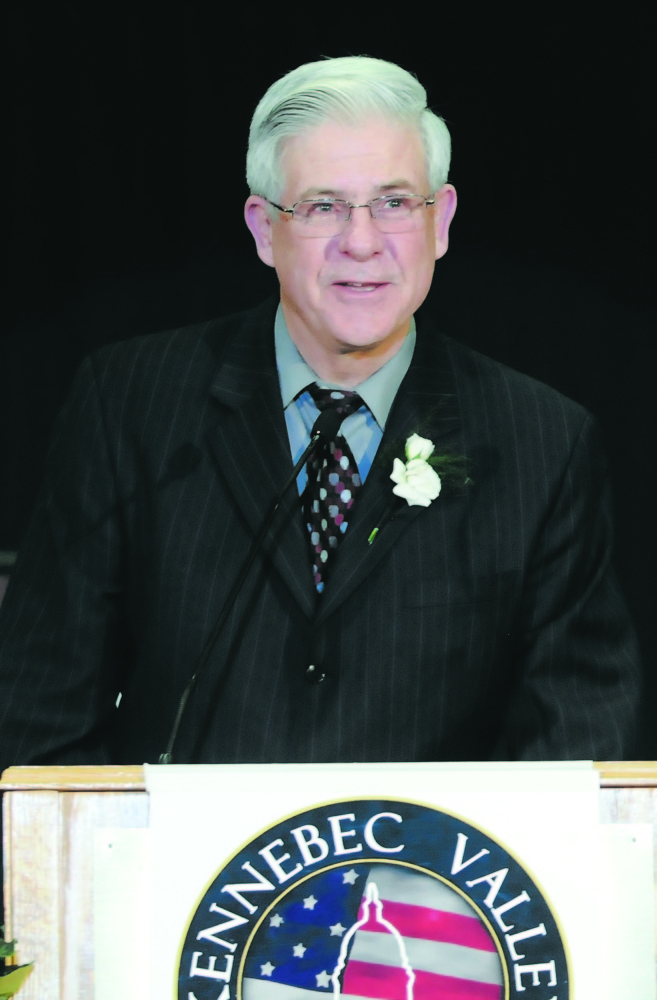 Kennebec Valley Chamber of Commerce president and chief executive officer Peter Thompson received an award for his 20 years of service during the 33rd Kennebec Valley Chamber of Commerce Annual Awards Banquet in January 2010.