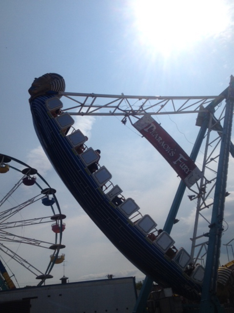 Pharaoh's Fury, the most popular ride on the midway, takes a turn Sunday during the 196th annual Skowhegan State Fair.