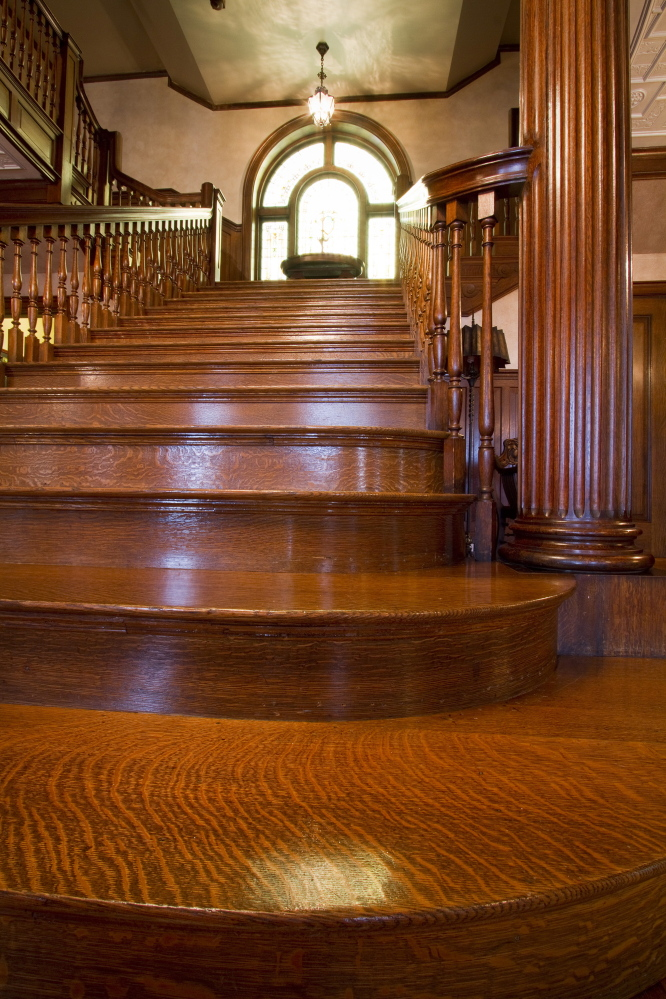 The grand staircase of Portland's West Mansion is made of Tiger Maple. The West End mansion, Portland's largest house, is on the market for sale at just under $ 3 million.