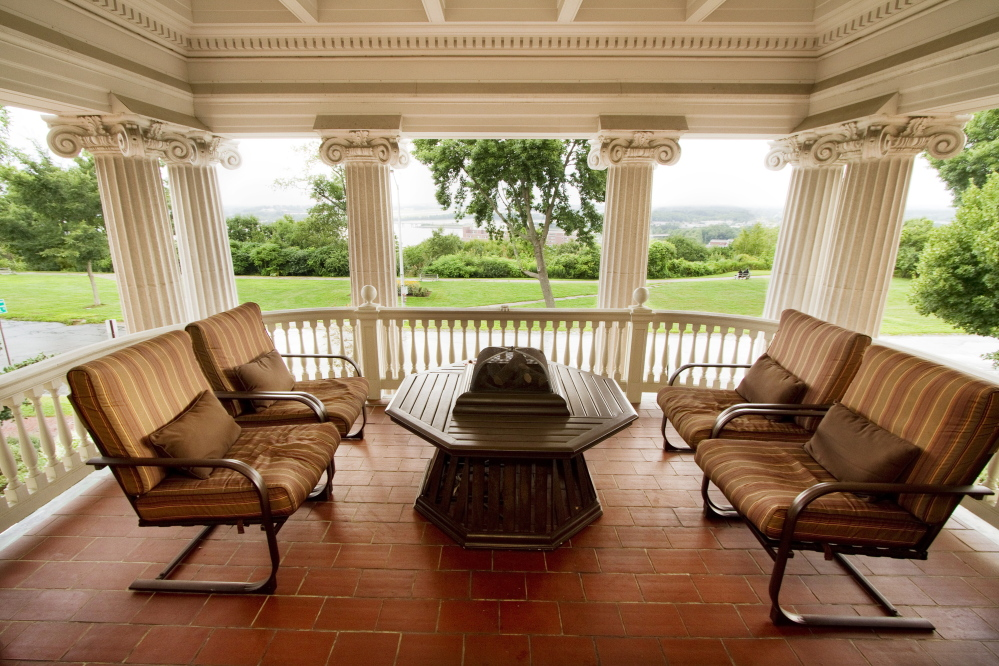 The second floor porch of the West Mansion looks over Portland's Western Promanade.