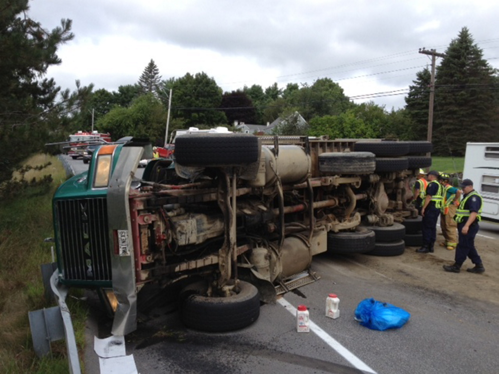 A four axel, eight wheel dump truck rolled over Tuesday on U.S. Route 202 in Winthrop, dumping a load of gravel. The operator said he yielded to an ambulance and couldn't correct, which caused the truck to roll over on its side, according to state police. Traffic is down to one lane. There are no injuries, except bumps and bruises for the operator.