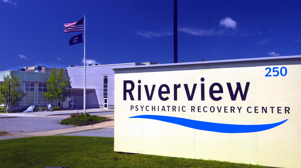 The new sign reading Riverview Psychiatric Recovery Center is seen in front of the Riverview Psychiatric Center in Augusta.