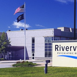 The new sign reading Riverview Psychiatric Recovery Center is seen in front of the Riverview Psychiatric Center.