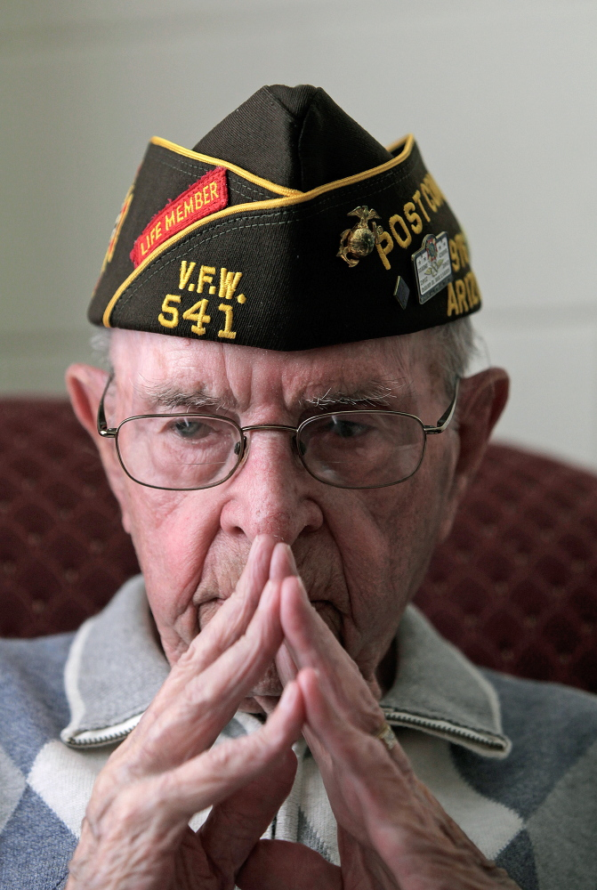 John McLeod, 91, a Marine veteran, interviewed Monday at his home in Westbrook, talks about working side by side with Navajo code talkers during World War II.