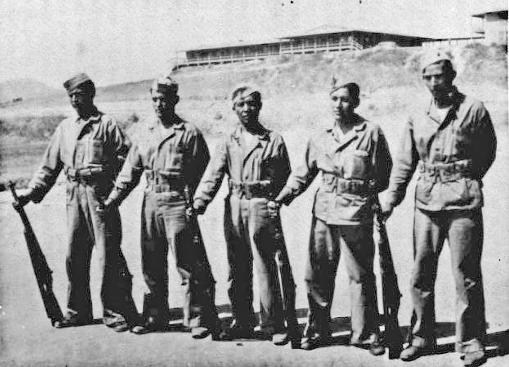 "During World War II on the island of Okinawa, John McLeod of Westbrook was a Marine working side by side with Rex Kontz, a ""code talker"" from Arizona shown above in the center as he poses with other Navajo code talkers who served in the Marines."