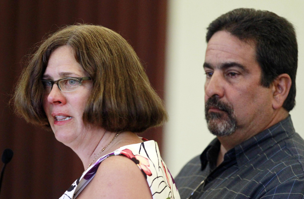 "With her husband, Tony Hanna, at her side, Becky Hanna looks at Seth Mazzaglia as she speaks during his sentencing hearing in Strafford County Superior Court on Thursday in Dover, N.H. The Hannas are Elizabeth ""Lizzy"" Marriott's aunt and uncle."
