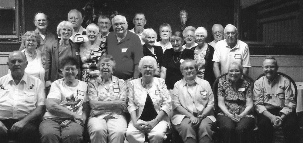 In front, from left, are Roy Pike, Bonita White Strout, Gayle Benson Chase, Evelyn Clark Dutil, Gail Adams Karkos, Esther Vivian Bell and Steve Mayo. Middle row, from left, are Melissa Eaton Knowles, Shirley Neil Lorette, Connie Casler Mayo, Francis Lorette, Edna Tyler Rose, Theda Williams Fairbanks, Marion Tyler Hinds and Lyle Karyos. Back row, from left, are Norman Beisaw, Clifton Harris, Robert Ridley, Douglas Fletcher, Leona Seamon Leavitt, Lauralee Perkins Davis and Ronald Melendy.