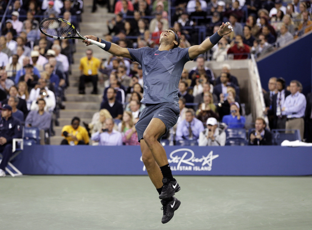 In this Sept. 9, 2013, file photo, Rafael Nadal, of Spain, reacts after defeating Novak Djokovic, of Serbia, during the men's singles final of the 2013 U.S. Open tennis tournament.
