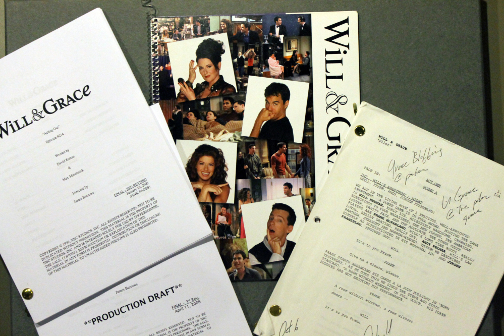 """The Associated Press/Smithsonian National Museum of American History Production scripts and press materials from NBC's """"Will & Grace"""" TV sitcom, which ran 2000-2006, are among the items related to LGBT history being collected by the Smithsonian."""