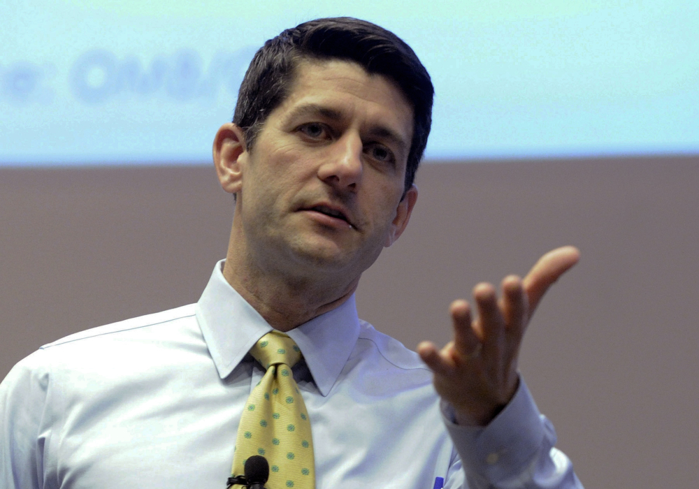 Republican Rep. Paul Ryan answers constituents questions during a listening session in Kenosha, Wis., in March.