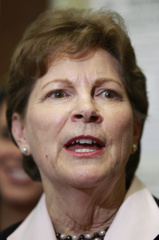 U.S. Sen. Jeanne Shaheen D-N.H. talks about her plans if she wins re-election after filing her campaign paperwork to seek re-election at the Secretary of State's office in Concord, N.H.