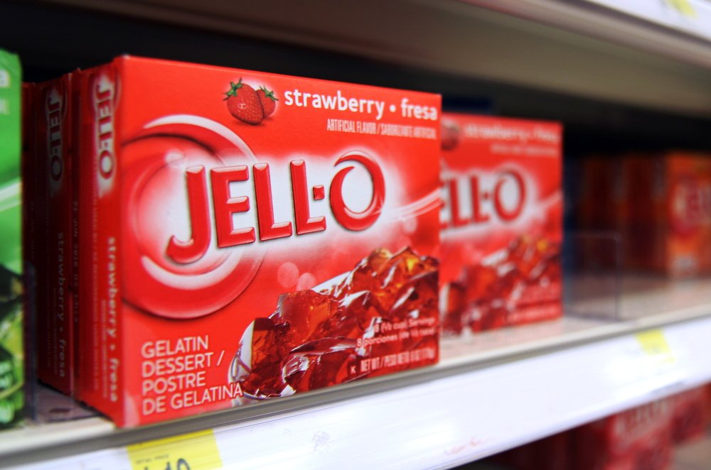 Boxes of Jell-O sit on a shelf at a store in Vauxhall, N.J. Despite its enduring place in pop culture, sales of Jell-O have tumbled 19 percent from five years ago, with alternatives such as Greek yogurt surging in poularity.
