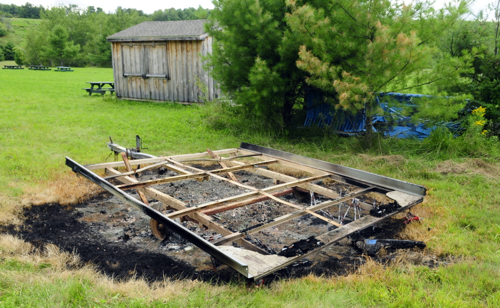 On Friday the state fire marshal was investigating a fire that burned this trailer at the Bond Brook Recreation Area in Augusta sometime Thursday.