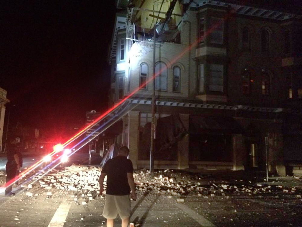 Officials say an earthquake with a preliminary magnitude of 6.0 was reported in California's northern San Francisco Bay area. Among the damages is a building in Napa, Calif..