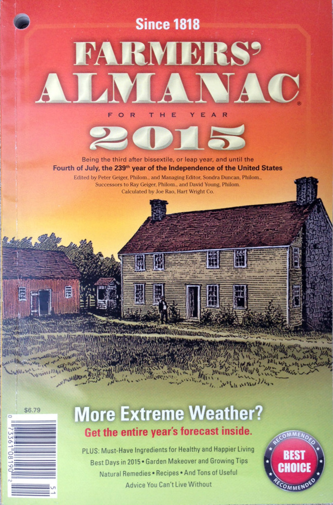 The 2015 edition of the Farmers' Almanac, which goes on sale this week, is predicting cold and snowy weather this winter.