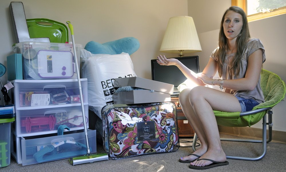 Lauren Wheelock has packed a few items at her Augusta home on Monday to take with her when she leaves for the University of Maine at Farmington. Wheelock received the Viles Foundation scholarship to pursue a degree in special education.