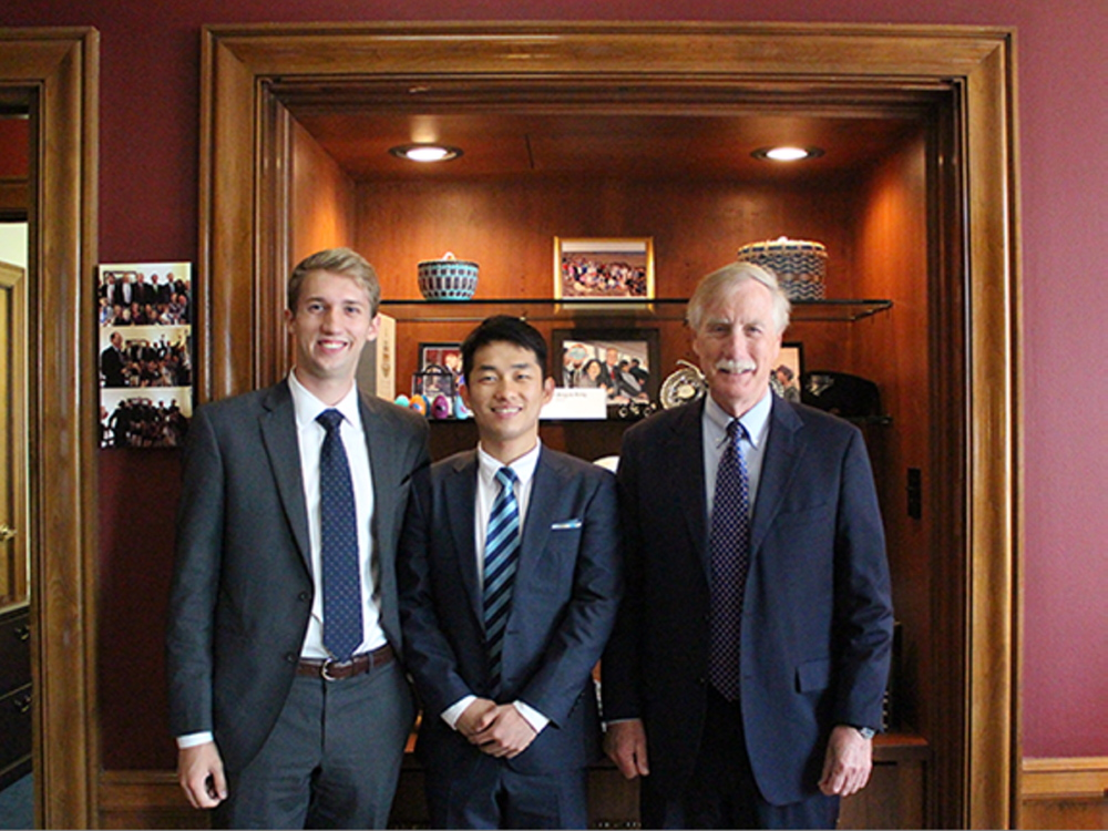 From left, Willie Ellis, Haein Kim and Angus King.