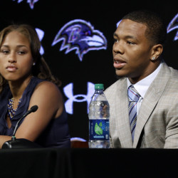 Baltimore Ravens running back Ray Rice, right, speaks alongside his wife, Janay, during a news conference in May in Owings Mills, Md. Rice's two-game suspension for domestic violence begins Saturday.